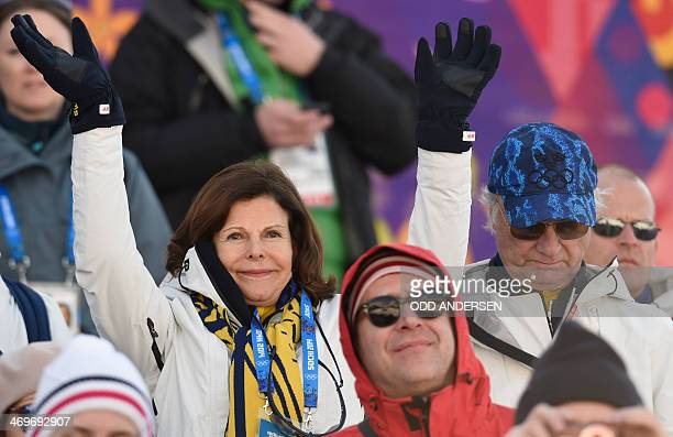 Sweden's Queen Silvia and King Carl Gustaf attend the Men's CrossCountry Skiing 4 x 10km Relay at the Laura CrossCountry Ski and Biathlon Center...