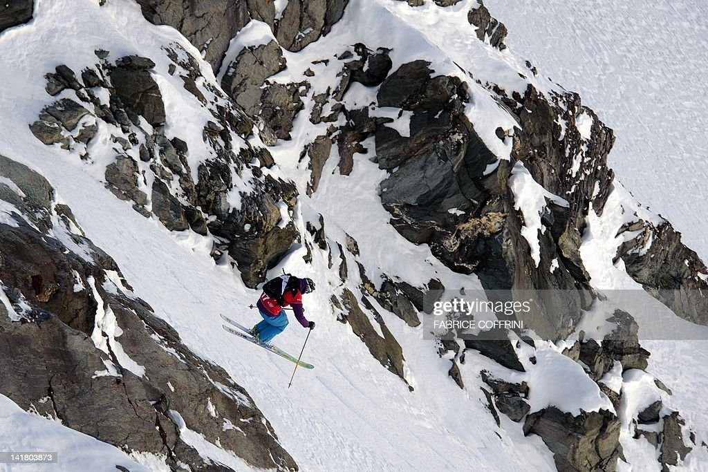 Sweden's Reine Barkered competes on the Bec de Rosses mountain during the Xtreme Freeride World Tour final on March 24, 2010 above the Swiss Alps resort of Verbier. AFP PHOTO/ FABRICE COFFRINI