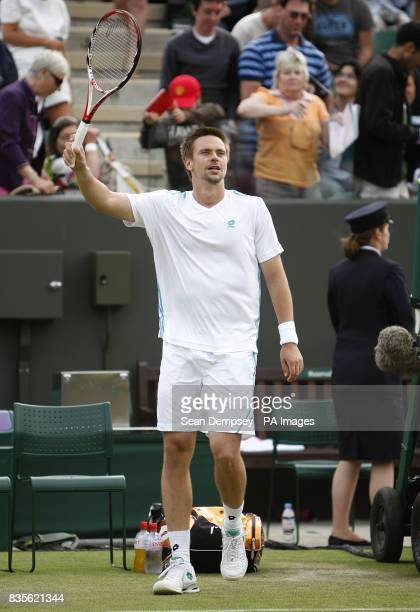 Sweden's Robin Soderling celebrates his victory against Spain's Marcel Granollers during the Wimbledon Championships 2009 at the All England Tennis...