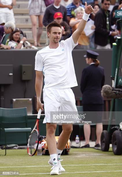 Sweden's Robin Soderling celebrates his victory over Spain's Marcel Granollers during the Wimbledon Championships 2009 at the All England Tennis Club