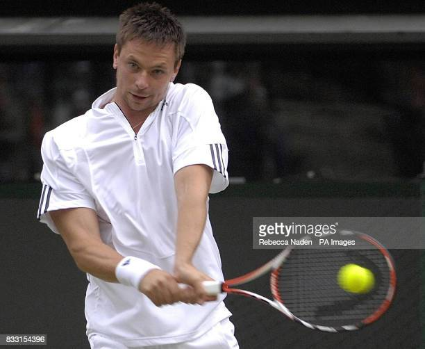 Sweden's Robin Soderling in action against Spain's Rafael Nadal during The All England Lawn Tennis Championship at Wimbledon