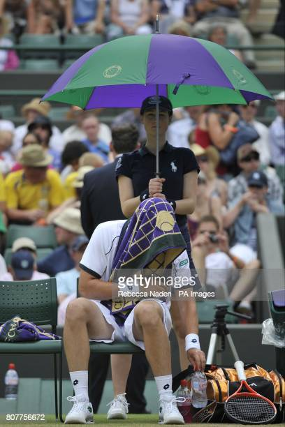 Sweden's Robin Soderling takes a break during his match against Spain's Marcel Granollers