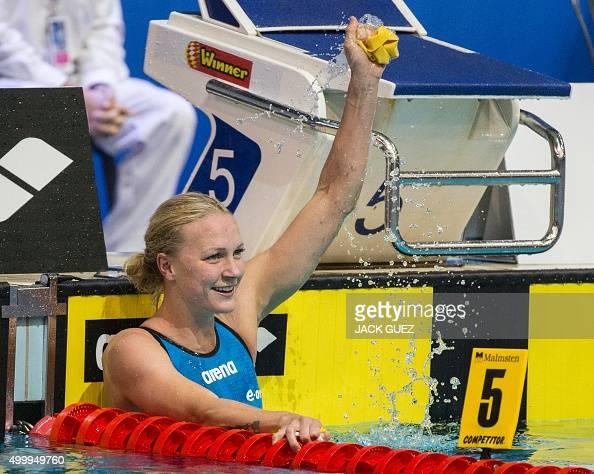 Swedens Sarah Sjoestroem reacts after winning the finals ...