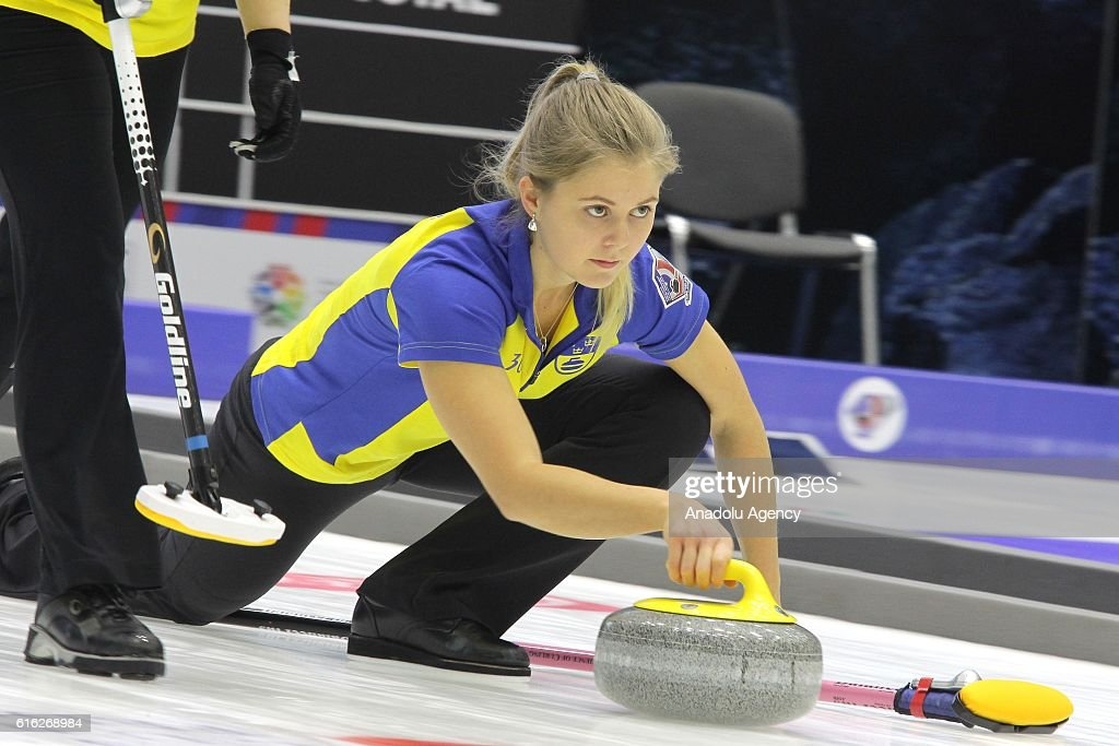 Sweden's second Joakim Flyg delivers a stone during semi-finals the game between Sweden and Scotland within the World Mixed Curling Championship 2016 at the Sport Palace in Kazan, Russia on October 22, 2016.