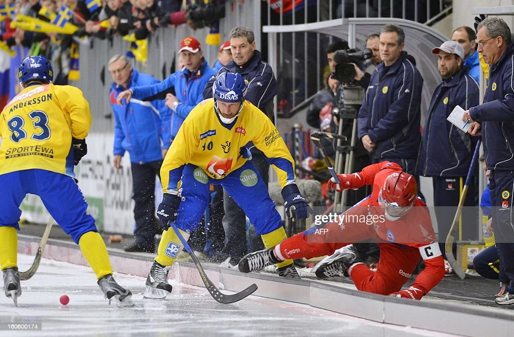 Sweden's Stefan Erixon (C) and Russia's Sergey Lomanov (R) vie during the Bandy World Championship final match Sweden vs Russia in Vanersborg, Sweden, February 3, 2013.