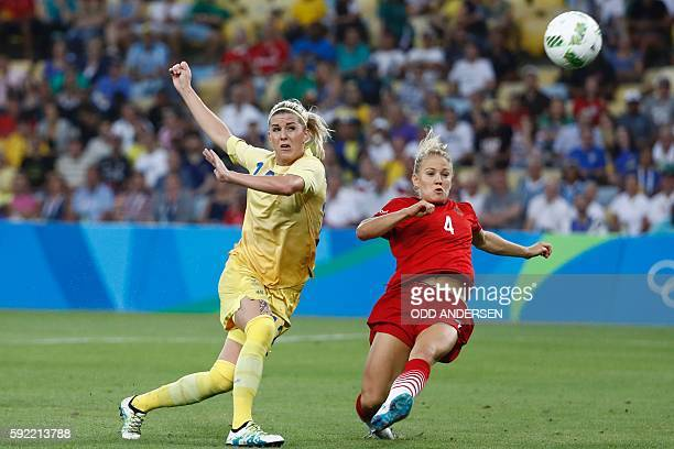 Sweden's striker Olivia Schough and Germany's defender Leonie Maier vie for the ball during the Rio 2016 Olympic Games women's football Gold medal...