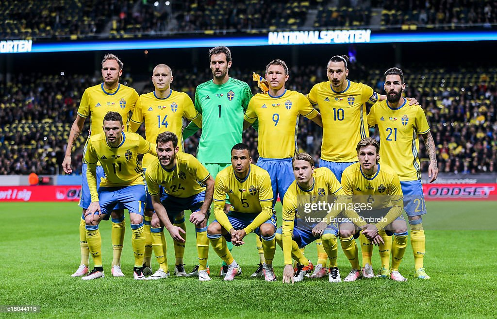 Swedens Team picture from back left, <a gi-track='captionPersonalityLinkClicked' href=/galleries/search?phrase=Andreas+Granqvist&family=editorial&specificpeople=3016250 ng-click='$event.stopPropagation()'>Andreas Granqvist</a>, Victor Nilsson Lindelöf, goalkeeper <a gi-track='captionPersonalityLinkClicked' href=/galleries/search?phrase=Andreas+Isaksson&family=editorial&specificpeople=542896 ng-click='$event.stopPropagation()'>Andreas Isaksson</a>, Kim Källström, <a gi-track='captionPersonalityLinkClicked' href=/galleries/search?phrase=Zlatan+Ibrahimovic&family=editorial&specificpeople=206139 ng-click='$event.stopPropagation()'>Zlatan Ibrahimovic</a> and Jimmy Durmaz. Front left, <a gi-track='captionPersonalityLinkClicked' href=/galleries/search?phrase=Marcus+Berg&family=editorial&specificpeople=5705301 ng-click='$event.stopPropagation()'>Marcus Berg</a>, Emil Salomonsson, Martin Olsson, Oscar Lewicki and Emil Forsberg before the international friendly between Sweden and Czech Republic at Friends Arena on March 29, 2016 in Solna, Sweden.