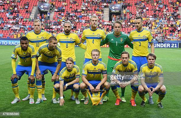 Sweden's team players line up prior to the start of the UEFA Under 21 European Championship 2015 final football match between Sweden and Portugal in...
