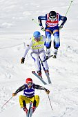 Sweden's Victor Oehling Norberg jumps into the finish area to take first place followed by second placed Russia's Sergey Ridzik third placed...