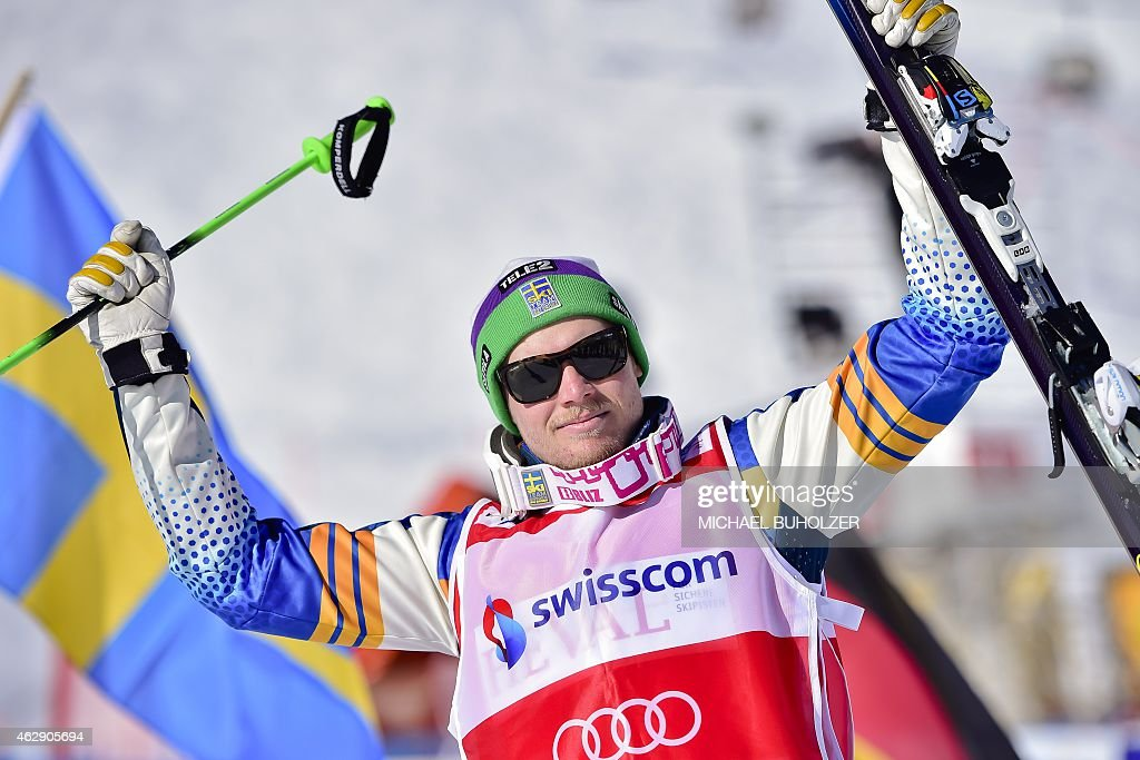 Sweden's Victor Oehling Norberg reacts after winning the Men's Snow Ski Cross Final at FIS World Cup in Arosa, on February 7, 2015. AFP PHOTO/ MICHAEL BUHOLZER
