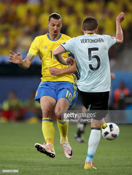 Sweden's Zlatan Ibrahimovic and Belgium's Jan Vertonghen battle for the ball
