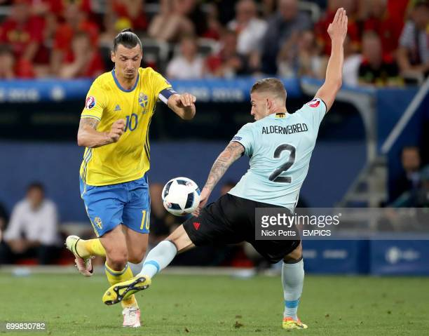 Sweden's Zlatan Ibrahimovic and Belgium's Toby Alderweireld battle for the ball
