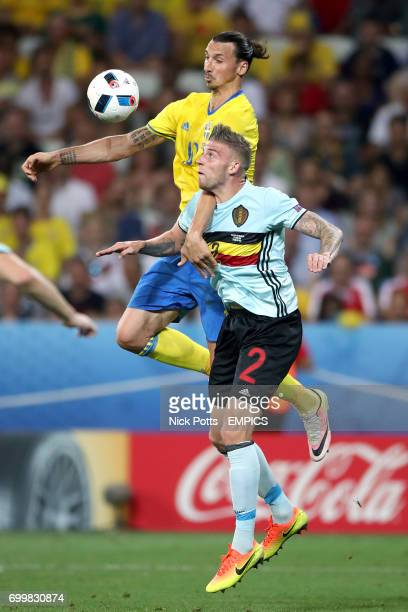 Sweden's Zlatan Ibrahimovic and Belgium's Toby Alderweireld battle for the ball in the air