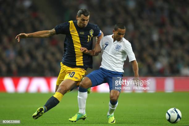Sweden's Zlatan Ibrahimovic and England's Theo Walcott battle for the ball