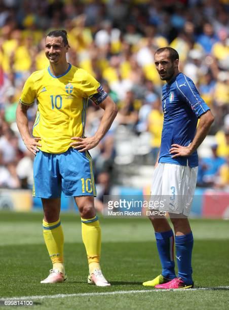 Sweden's Zlatan Ibrahimovic and Italy's Giorgio Chiellini