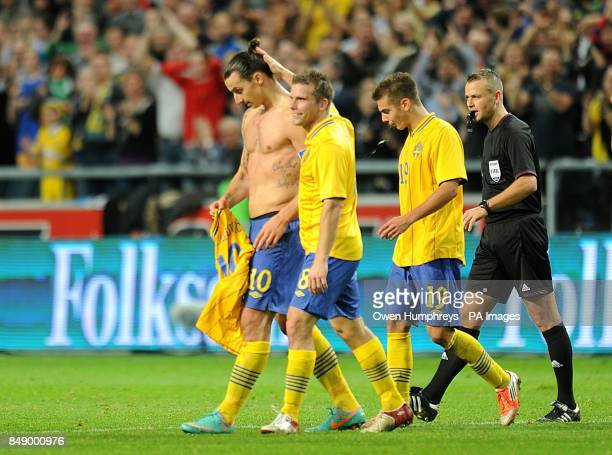 Sweden's Zlatan Ibrahimovic celebrates scoring his and his side's fourth goal of the game