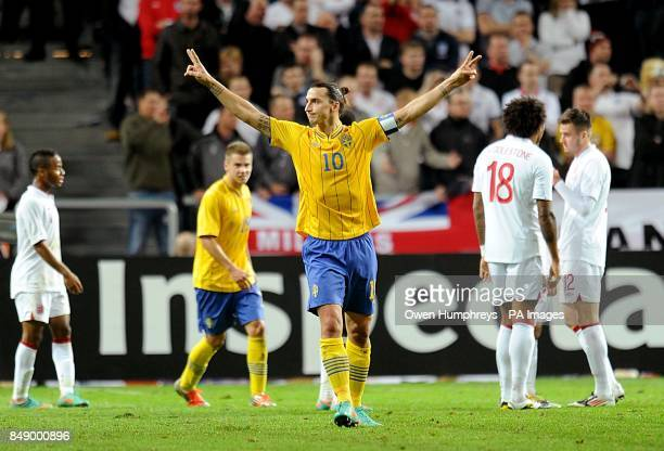 Sweden's Zlatan Ibrahimovic celebrates scoring his side's third goal of the game completing his hattrick