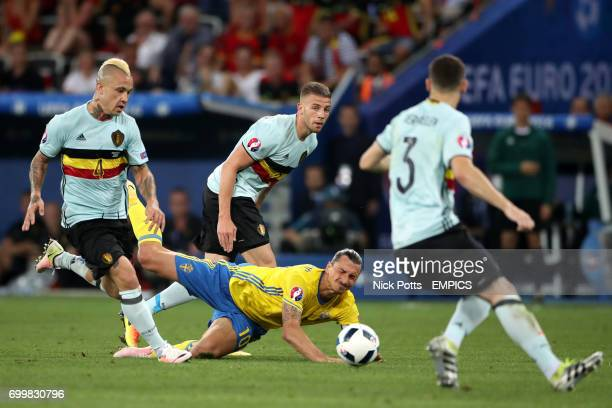 Sweden's Zlatan Ibrahimovic goes down under a challenge from Belgium's Radja Nainggolan