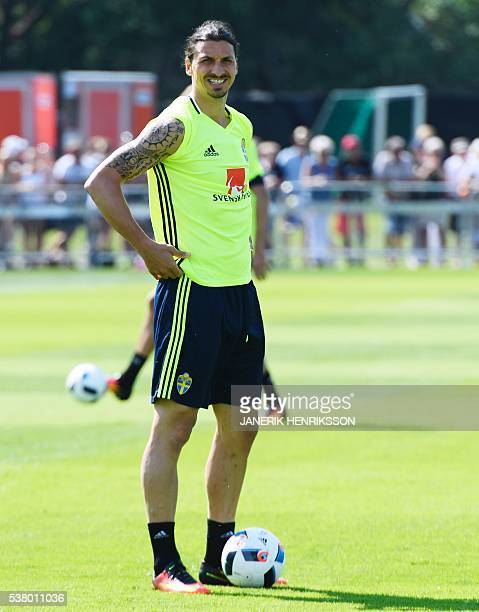 Sweden's Zlatan Ibrahimovic is pictured during the training in Bastad Sweden on June 4 2016 The Swedish football team ended their training camp for...
