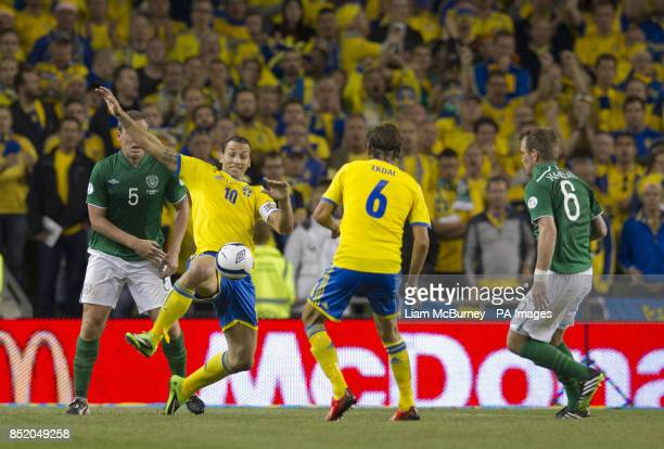 Sweden's Zlatan Ibrahimovic stretches for the ball during the World Cup Qualifying Group C match at the Aviva Stadium Dublin Ireland