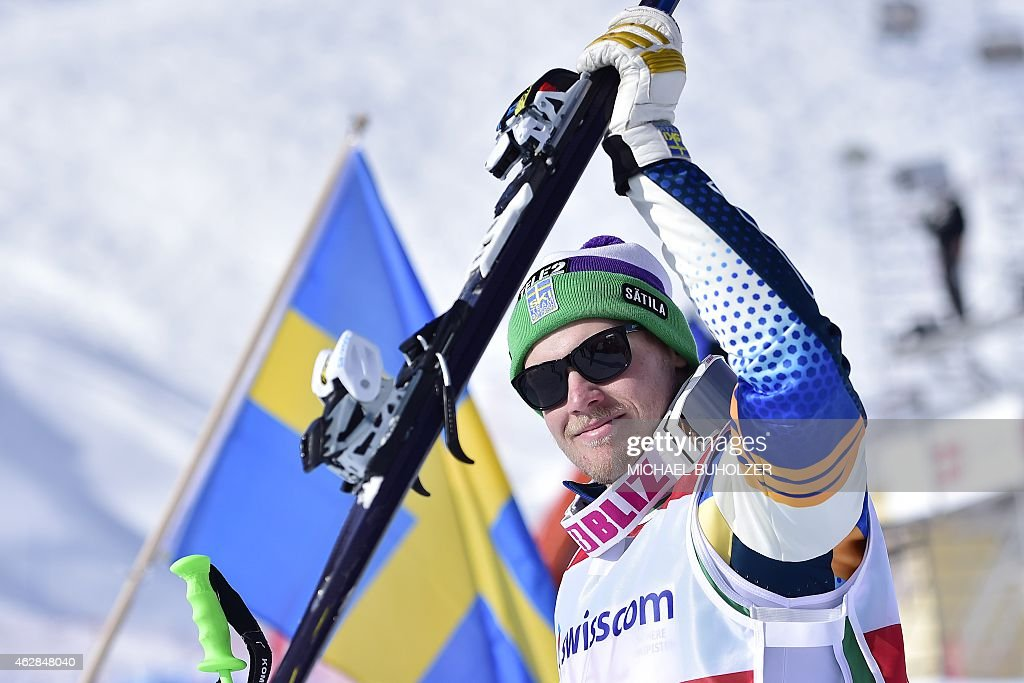Swedens's Victor Oehling Norberg reacts in the finish area after winning the Men's Snow Ski Cross Final at FIS World Cup in Arosa on February 6, 2015. Oehling Norberg won the competition ahead of second placed Russia's Sergey Ridzik, third placed France's Bastien Midol and fourth placed Germany's Daniel Bohnacker. AFP PHOTO / MICHAEL BUHOLZER