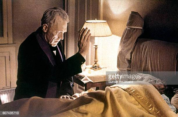 Swedish actor Max von Sydow and American actress Linda Blair on the set of The Exorcist based on the novel by William Peter Blatty and directed by...