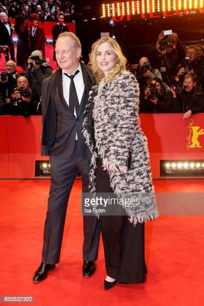 Swedish actor Stellan Skarsgard and german actress Nina Hoss attend the 'Return to Montauk' premiere during the 67th Berlinale International Film...