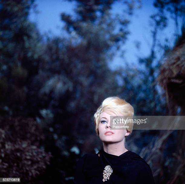 Swedish actress Anita Ekberg pictured on the set of the film 'Call Me Bwana' at Pinewood studios in England in 1963