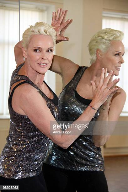 Swedish actress Brigitte Nielsen poses for the press during a training session for the 'Let's Dance' RTL tv show at Tanzschule Stelter on April 7...