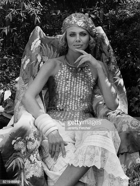 Swedish actress Britt Ekland at home London 1978