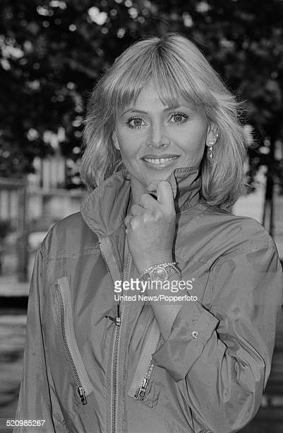 Swedish actress Britt Ekland posed wearing a jumpsuit in London on 7th July 1980