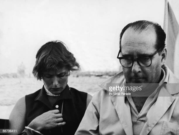 Swedish actress Ingrid Bergman and her second husband Italian motion picture director Roberto Rossellini sit on a boat in Venice 1955