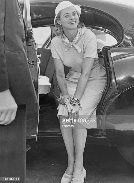 Swedish actress Ingrid Bergman arrives in London England on her way to visit her daughter Pia Lindstrom on July 05 1957