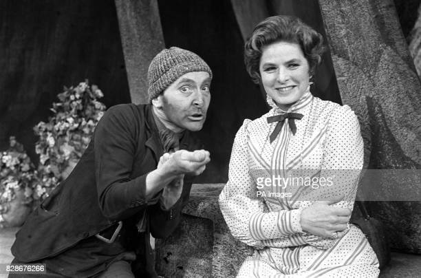 Swedish actress Ingrid Bergman as Lady Cicely Waynflete and Kenneth Williams as Drinkwater during a dress rehearsal at the Cambridge Theatre London...