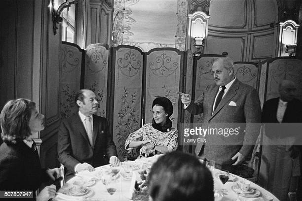 LR Swedish actress Ingrid Bergman English actor Rex Harrison French actress Jeanne Moreau and Russian British film producer and screenwriter Anatole...