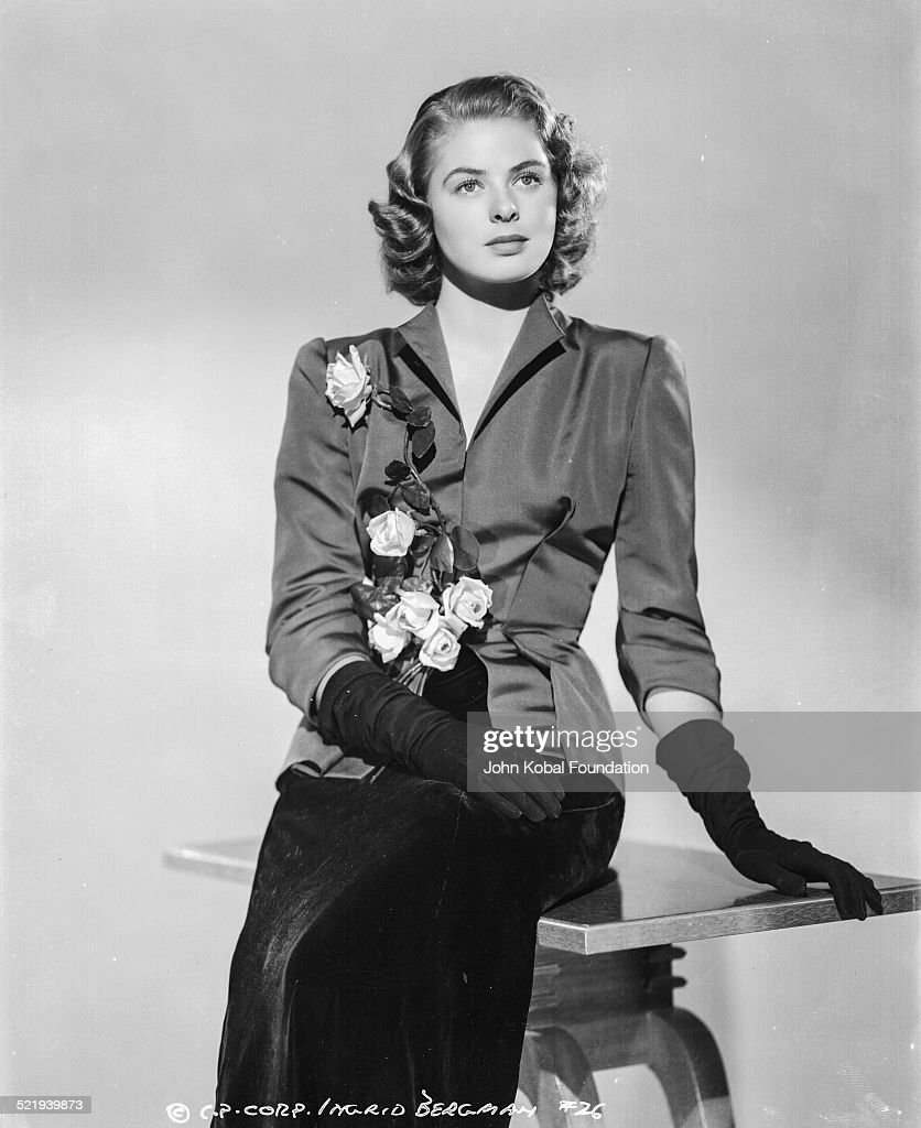 Swedish actress <a gi-track='captionPersonalityLinkClicked' href=/galleries/search?phrase=Ingrid+Bergman&family=editorial&specificpeople=70003 ng-click='$event.stopPropagation()'>Ingrid Bergman</a> (1915-1982), in a promotional shot for Columbia Pictures, wearing a black suit and gloves, 1941.