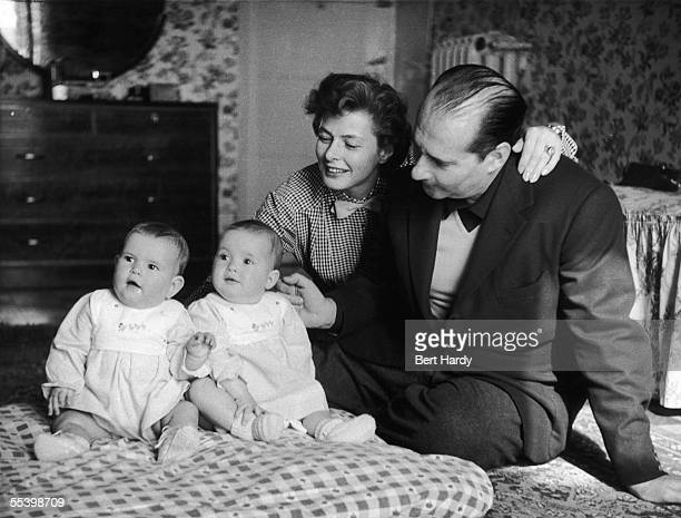 Swedish actress Ingrid Bergman in Naples with her husband film director Roberto Rossellini and their 11monthold twins Isabella and Ingrid 23rd May...