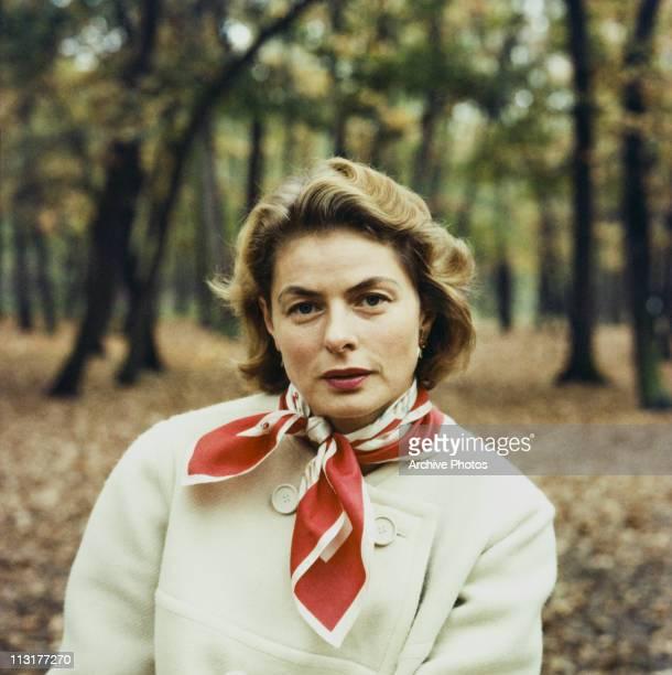 Swedish actress Ingrid Bergman sitting outside in the woods circa 1960