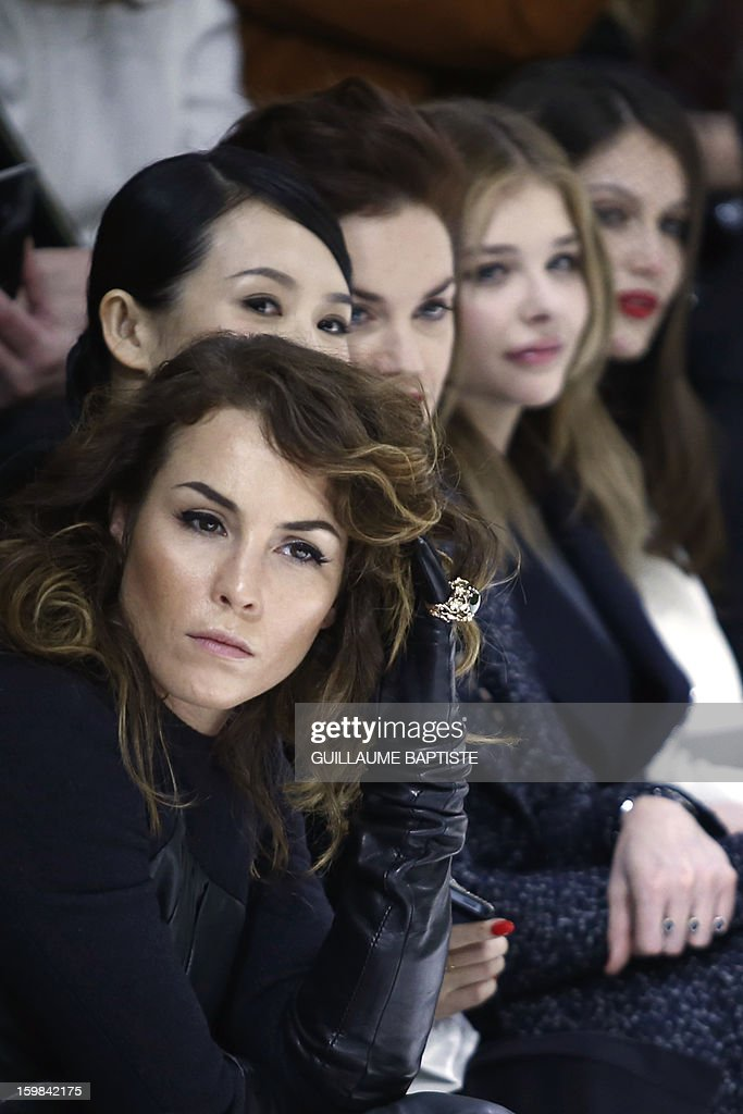 Swedish actress Noomi Rapace, Chinese actress Zhang Ziyi, British actress Ruth Wilson, US actress Chloe Grace Moretz and French actress Laetitia Casta attend the Christian Dior Haute Couture Spring-Summer 2013 collection show by Belgian designer Raf Simons on January 21, 2013 in Paris. AFP PHOTO / GUILLAUME BAPTISTE