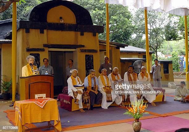 Swedish Ambassador Eriksson Fogh addresses the gathering whilst Indian minister of external affairs Natwar Singh Nobellion economist Amartya Sen...