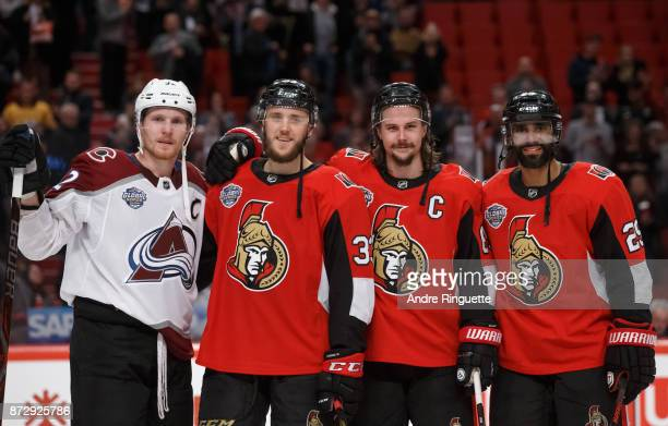 Swedish born players playing in the NHL Global Series games Gabriel Landeskog of the Colorado Avalanche Fredrik Claesson Erik Karlsson and Erik...
