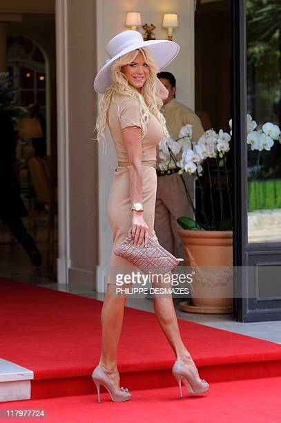Swedish celebrity model actress Victoria Silvstedt leaves the Hermitage Hotel prior the religious wedding of Prince Albert II of Monaco and Princess...