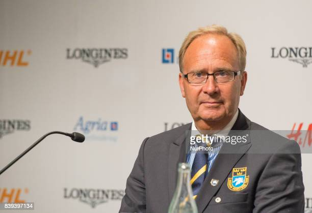 Swedish Chef d'Equipe Bo Jenå meets the press after his team won the bronze medal in the team dressage competition of the 2017 FEI European...