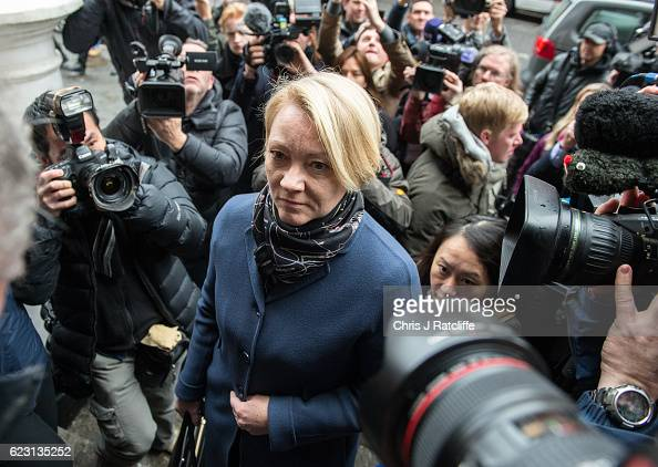 Swedish chief prosecutor Ingrid Isgren arrives at the Embassy of Ecuador to question Wikileaks founder Julian Assange on November 14 2016 in London...