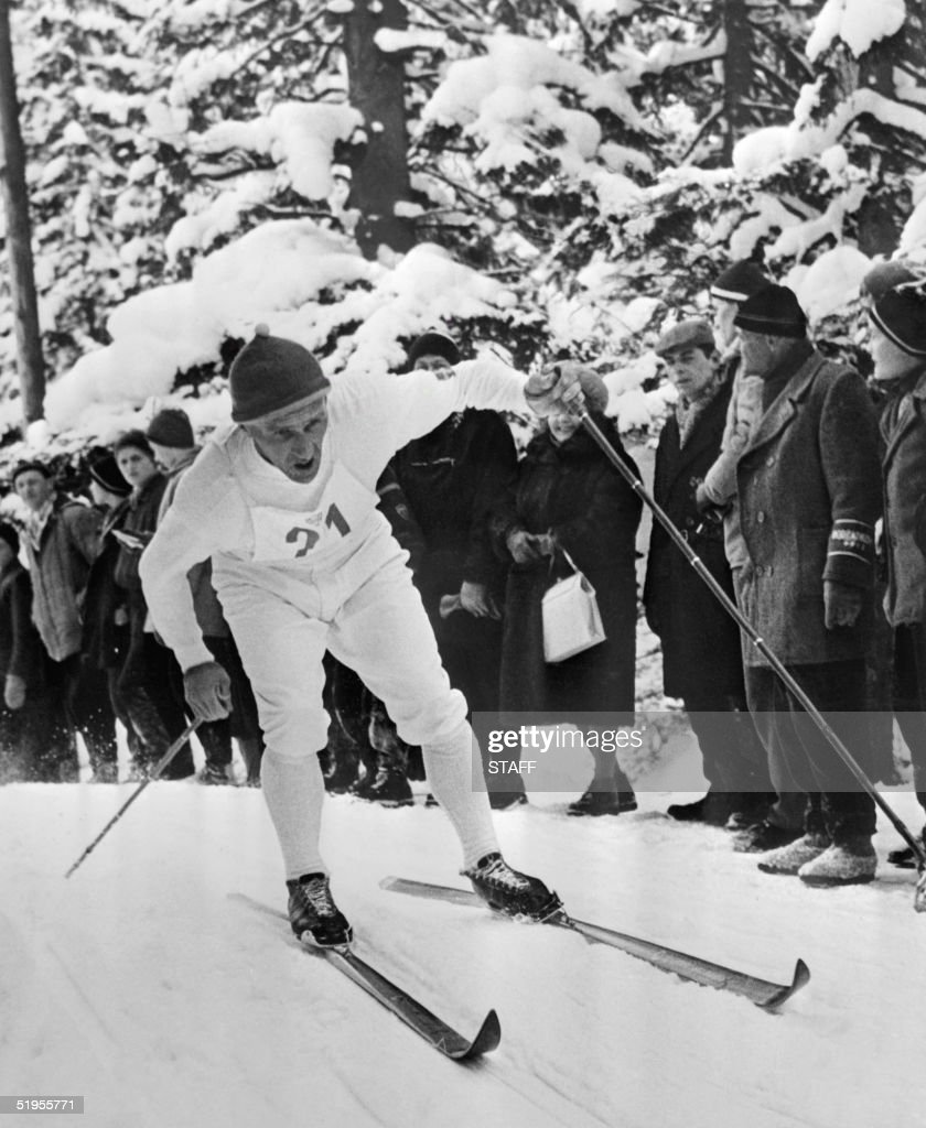 Swedish cross country skier Sixten Jernberg powers his way uphill during a freestyle race in February 1964 in Innsbruck at the Winter Olympic Games. Between 1956 and 1964, Jernberg won nine Olympic medals (4 gold, 3 silver, 2 bronze) in nordic skiing.