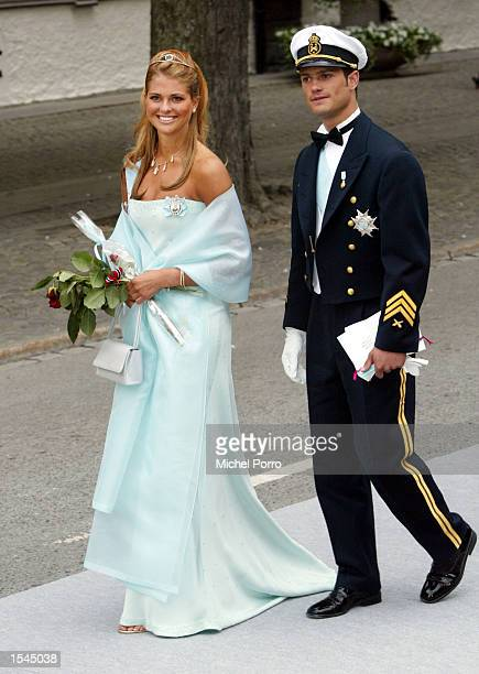 Swedish Crown Princess Madeleine and her brother Carl Phillip arrive at the Royal Residence after the wedding of Norwegian Princess Martha Louise and...