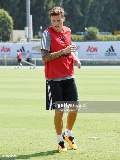 Swedish defender Victor Lindelof of the Manchester United during training for Tour 2017 at UCLA's Drake Stadium July 10 in Los Angeles California