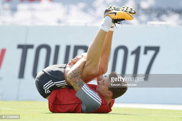 Swedish defender Victor Lindelof of the Manchester United stretches during training for Tour 2017 at UCLA's Drake Stadium July 10 in Los Angeles...