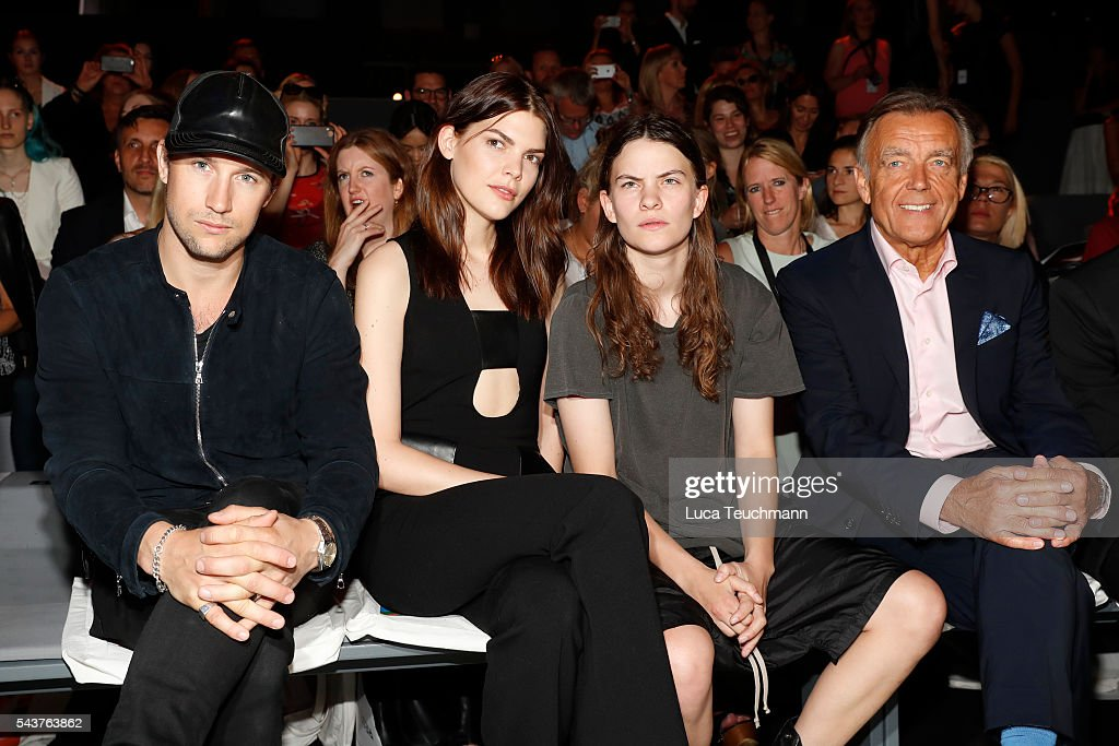 Swedish director Christian Larson, Lucie Von Alten, Eliot Paulina Sumner and Wolfgang Schattling attend the Wataru Tominaga presented by Mercedes-Benz & Elle show during the Mercedes-Benz Fashion Week Berlin Spring/Summer 2017 at Erika Hess Eisstadion on June 30, 2016 in Berlin, Germany.