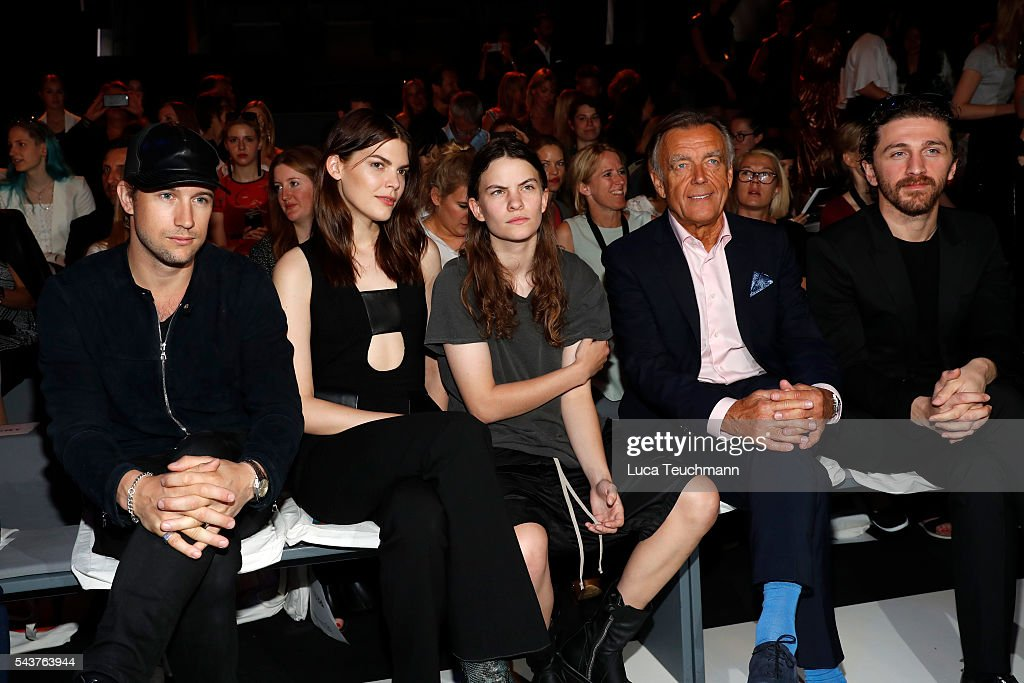 Swedish director Christian Larson, Lucie Von Alten, Eliot Paulina Sumner, Wolfgang Schattling and designer David Koma attend the Wataru Tominaga presented by Mercedes-Benz & Elle show during the Mercedes-Benz Fashion Week Berlin Spring/Summer 2017 at Erika Hess Eisstadion on June 30, 2016 in Berlin, Germany.